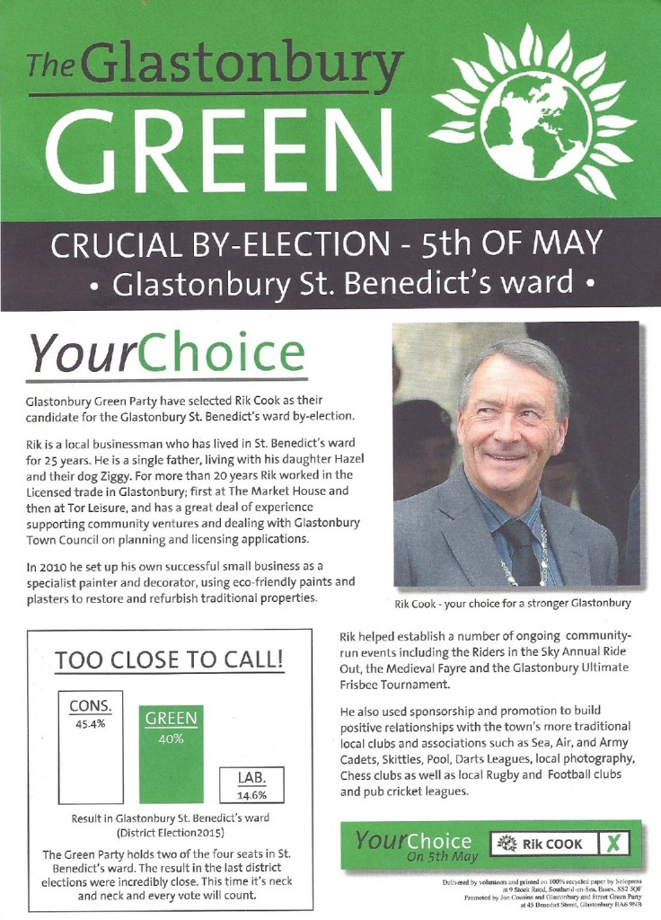 Rik Cook's by-election leaflet page 1