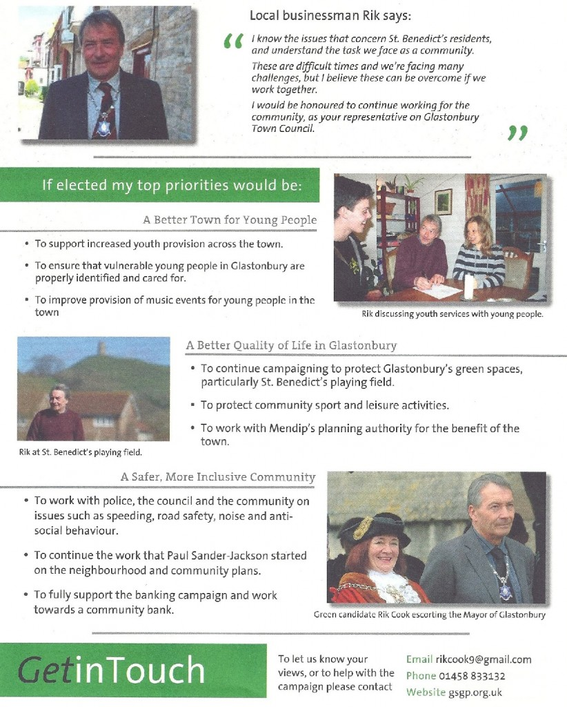 Rik Cook's by-election leaflet page 2