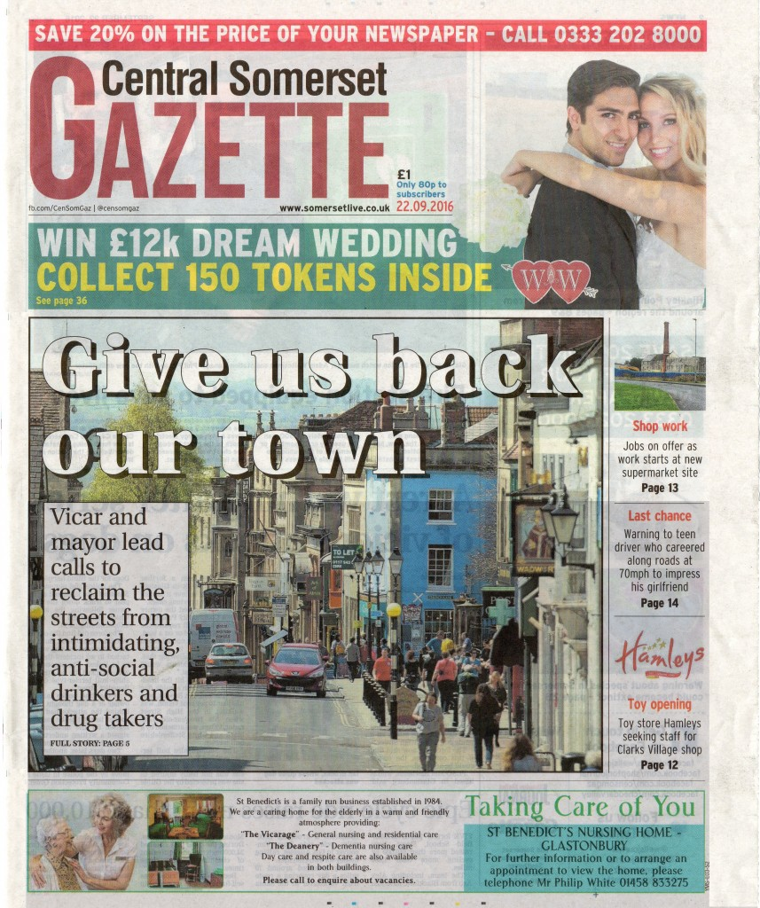 'Give us back our town' front page – Central Somerset Gazette, 22nd September 2016.