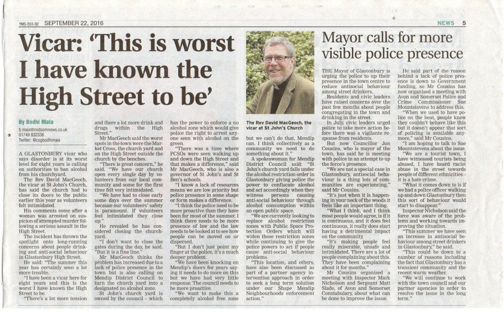 "'Vicar: ""This is worst I have known the High Street to be"".' & 'Mayor calls for more visible police presence' – Central Somerset Gazette, 22nd September 2016."