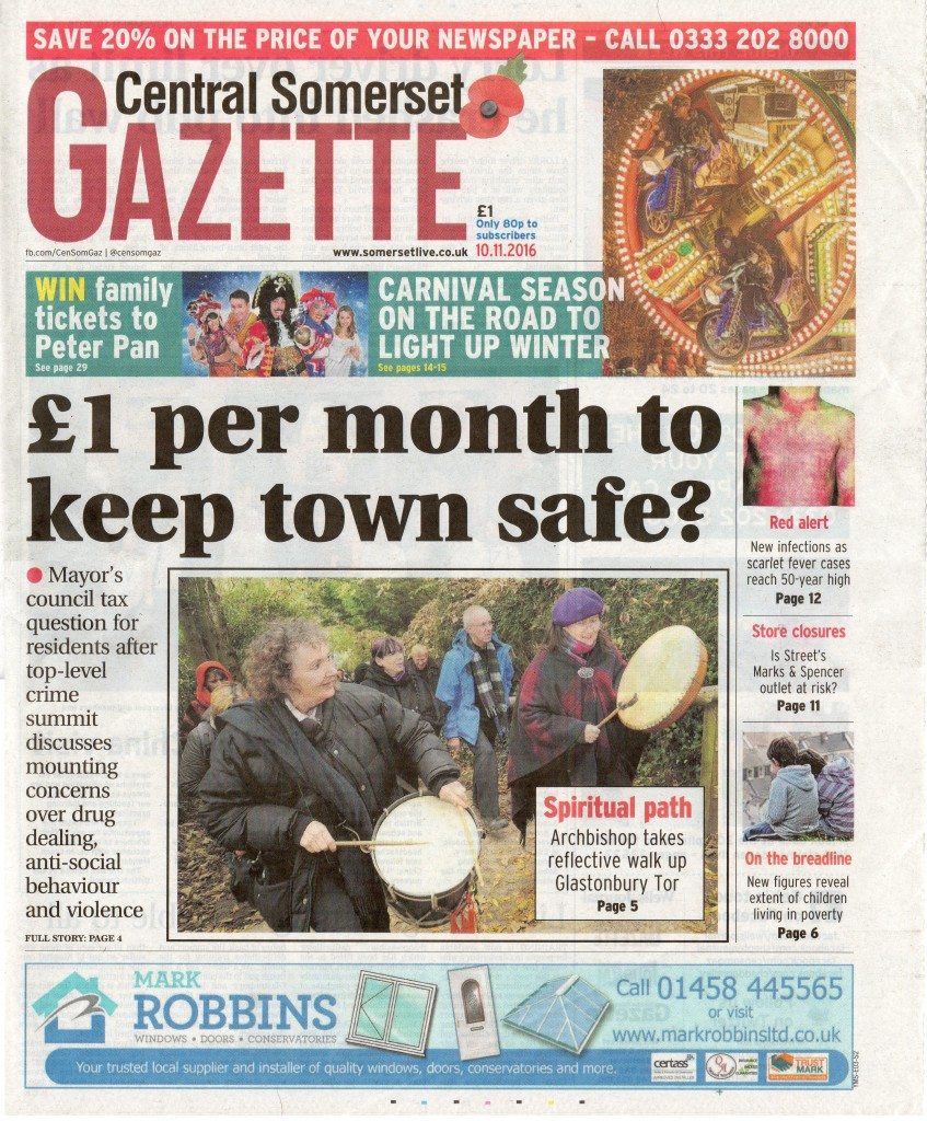 £1 per month to keep town safe? – the front page of the Central Somerset Gazette, 10th November 2016