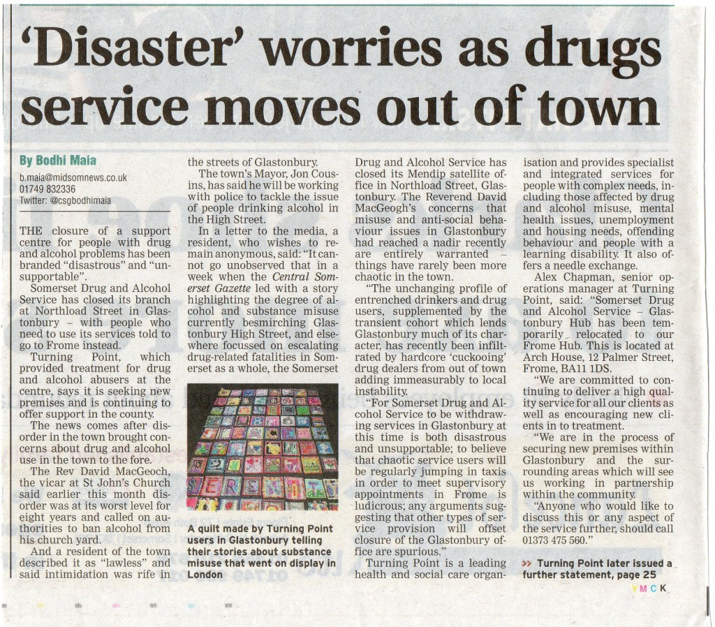 'Disaster' worries as drugs service moves out of town CSG 6th October 2016'Disaster' worries as drugs service moves out of town – Central Somerset Gazette, 6th October 2016
